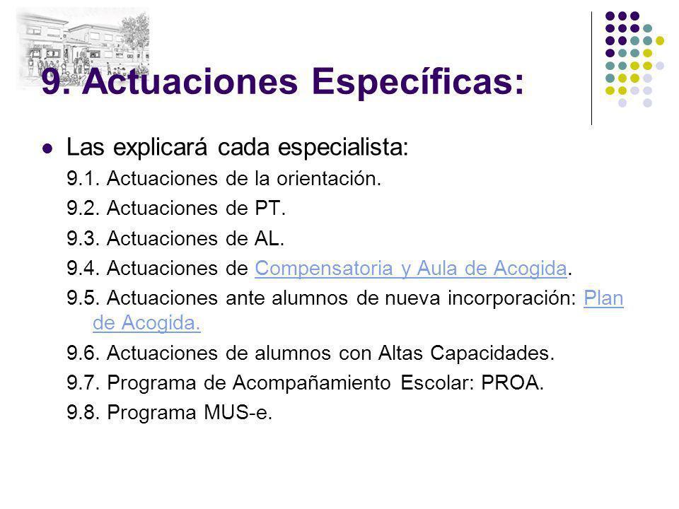 9. Actuaciones Específicas: Las explicará cada especialista: 9.1. Actuaciones de la orientación. 9.2. Actuaciones de PT. 9.3. Actuaciones de AL. 9.4.