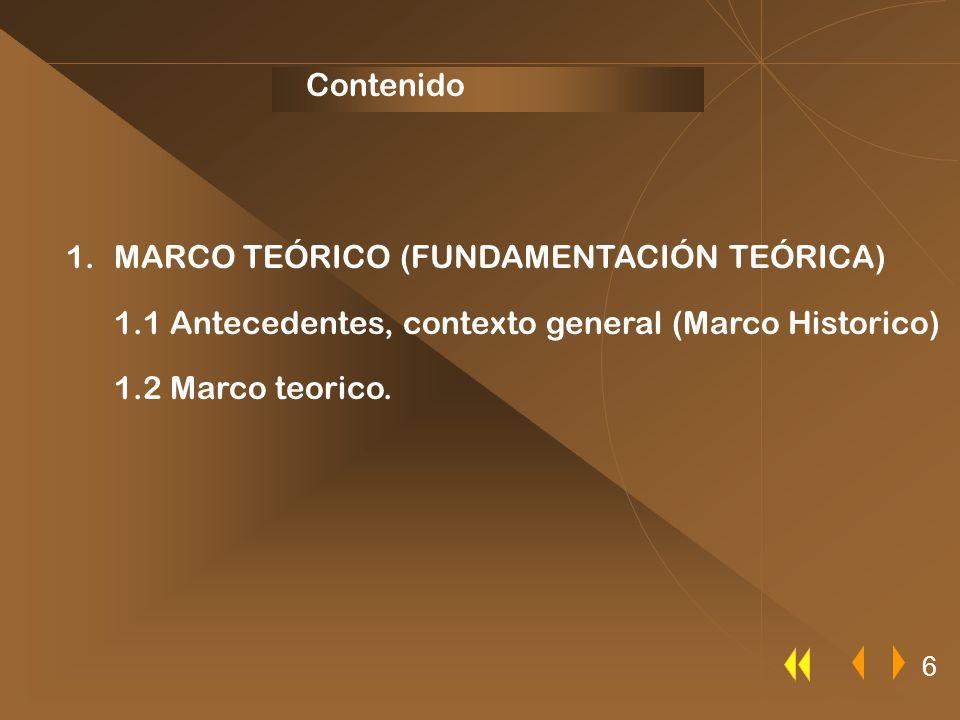 1.MARCO TEÓRICO (FUNDAMENTACIÓN TEÓRICA) 1.1 Antecedentes, contexto general (Marco Historico) 1.2 Marco teorico. Contenido 6