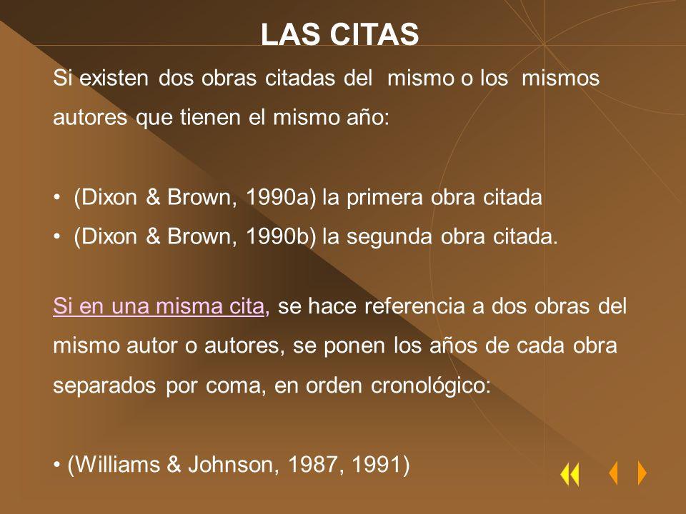Si existen dos obras citadas del mismo o los mismos autores que tienen el mismo año: (Dixon & Brown, 1990a) la primera obra citada (Dixon & Brown, 199