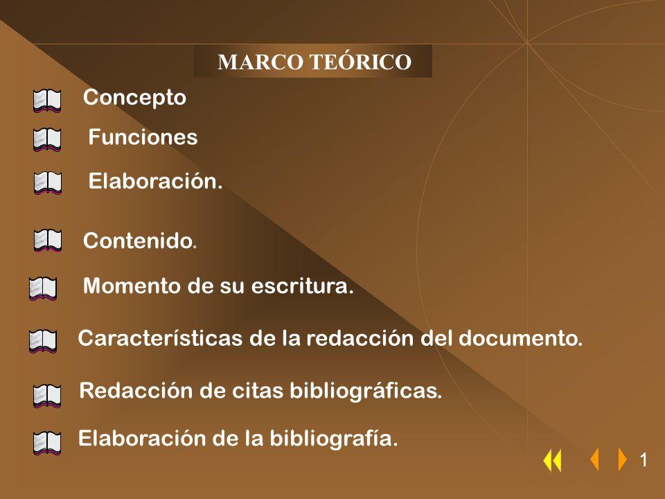 MARCO TEÓRICO Elaboración. Momento de su escritura. Contenido. Funciones Concepto 1 Elaboración de la bibliografía. Redacción de citas bibliográficas.