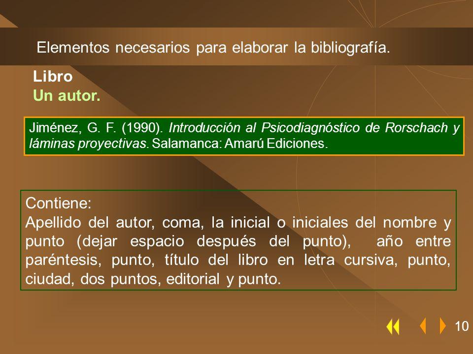 Elementos necesarios para elaborar la bibliografía. 10 Contiene: Apellido del autor, coma, la inicial o iniciales del nombre y punto (dejar espacio de