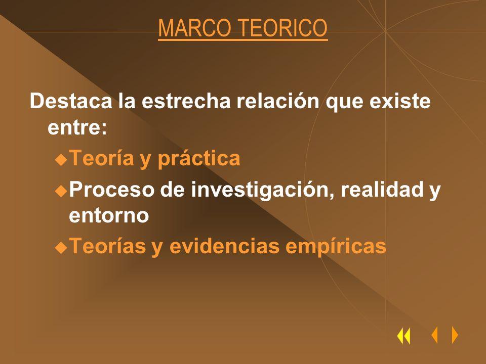 MARCO TEORICO Destaca la estrecha relación que existe entre: u Teoría y práctica u Proceso de investigación, realidad y entorno u Teorías y evidencias