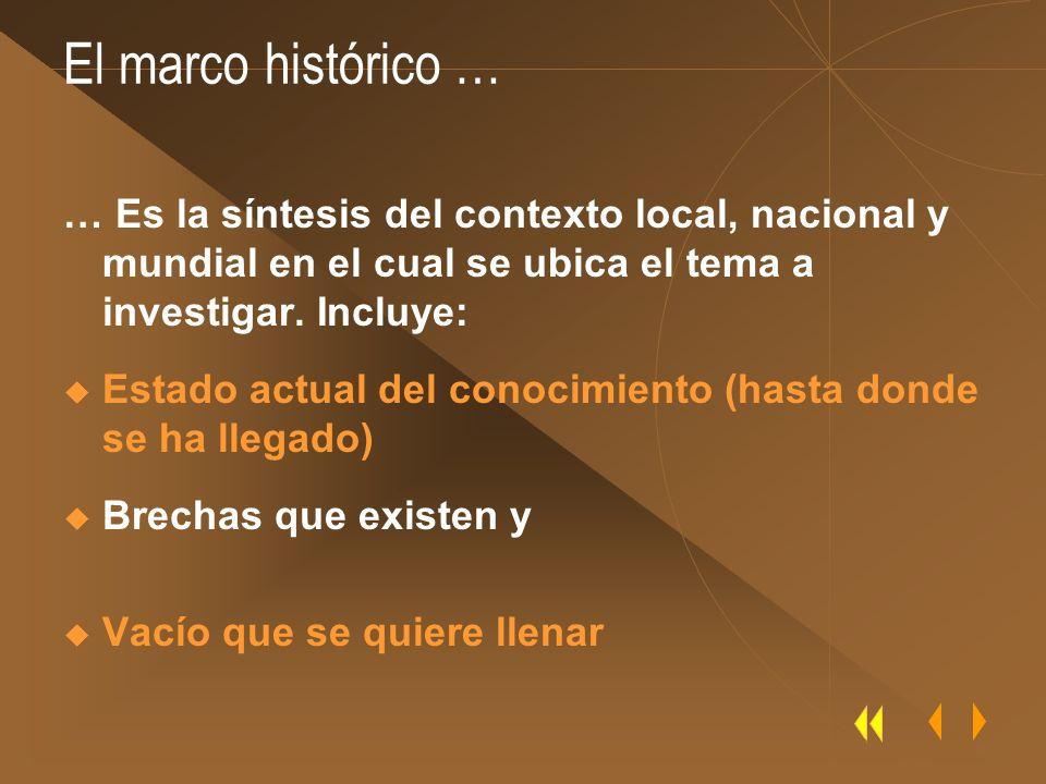 El marco histórico … … Es la síntesis del contexto local, nacional y mundial en el cual se ubica el tema a investigar. Incluye: Estado actual del cono