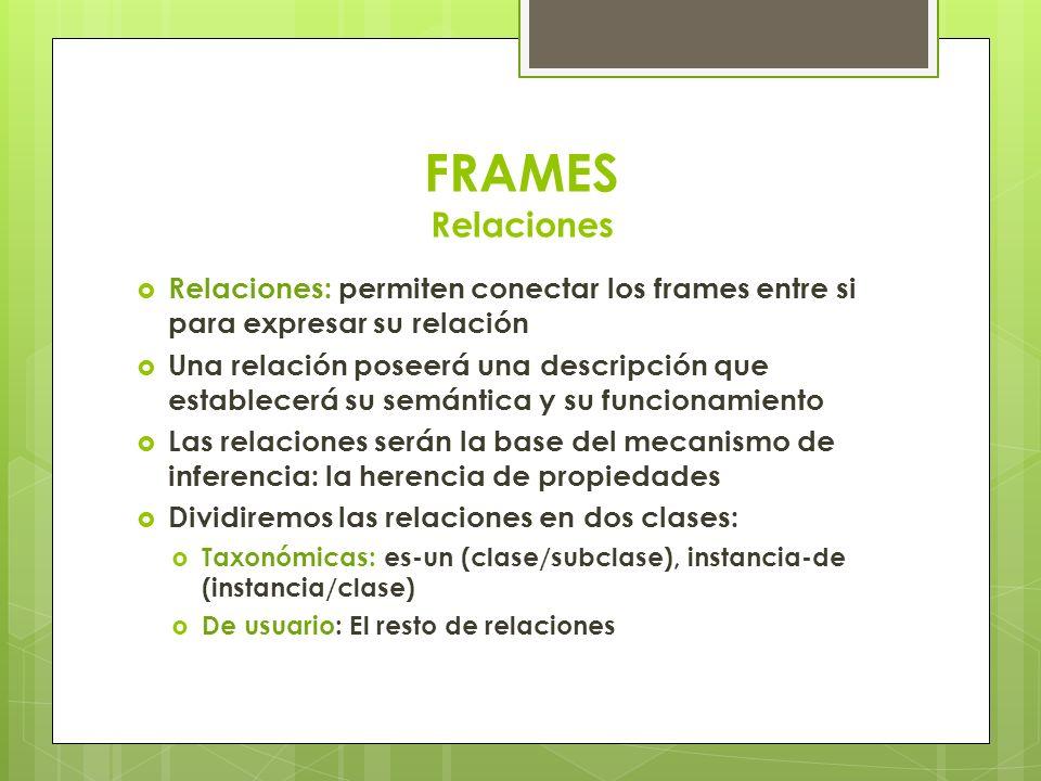Relaciones: permiten conectar los frames entre si para expresar su relación Una relación poseerá una descripción que establecerá su semántica y su fun