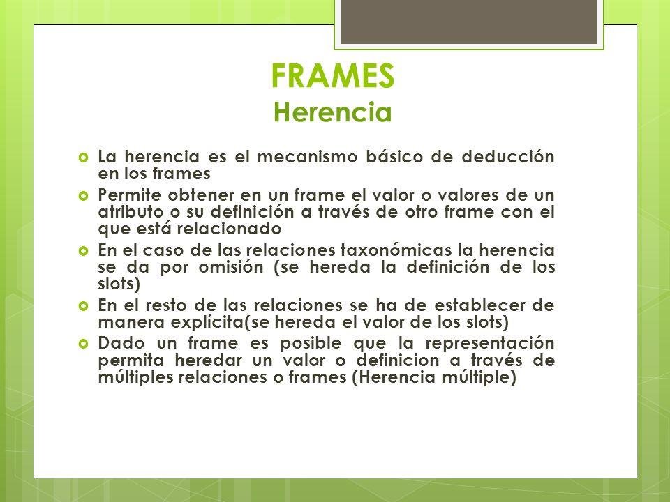 FRAMES Herencia La herencia es el mecanismo básico de deducción en los frames Permite obtener en un frame el valor o valores de un atributo o su defin