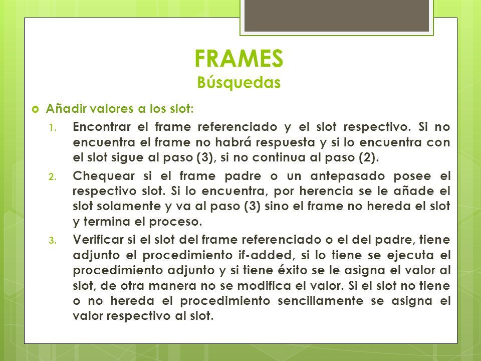 FRAMES Búsquedas Añadir valores a los slot: 1. Encontrar el frame referenciado y el slot respectivo. Si no encuentra el frame no habrá respuesta y si