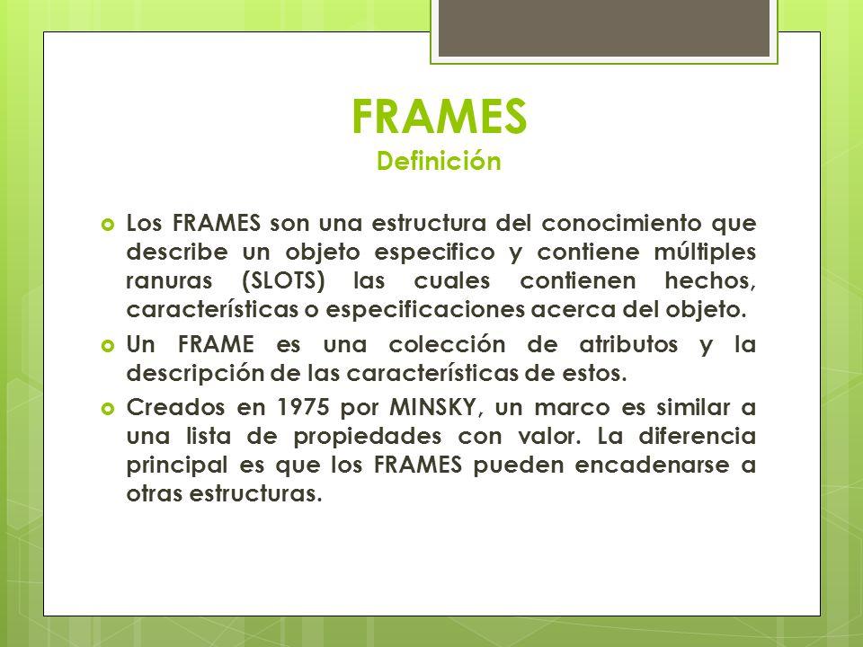 FRAMES Definición Los FRAMES son una estructura del conocimiento que describe un objeto especifico y contiene múltiples ranuras (SLOTS) las cuales con