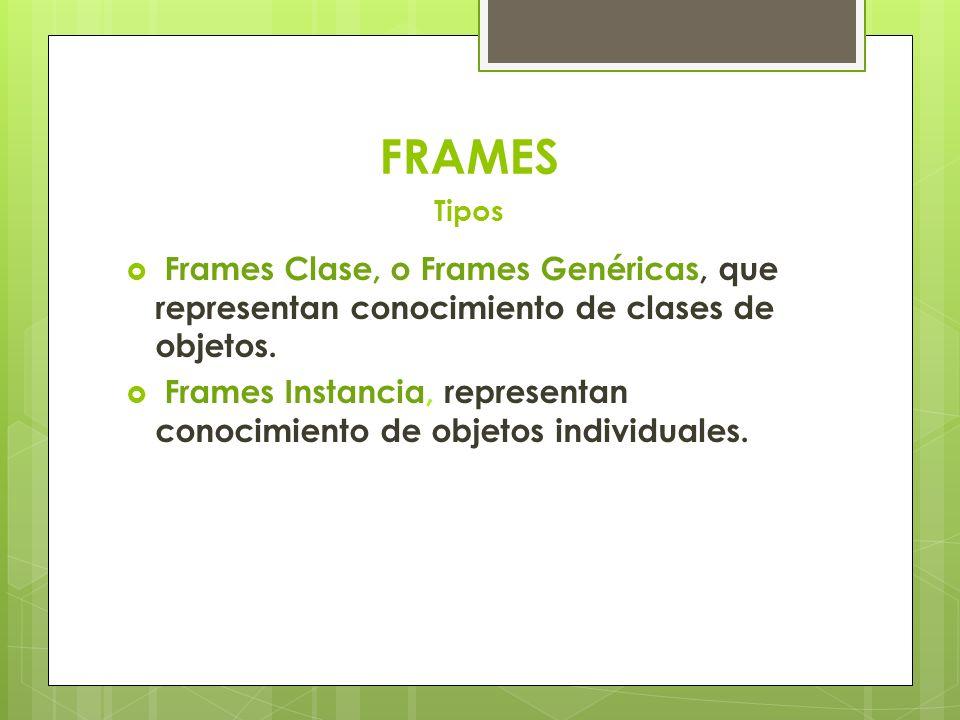 Frames Clase, o Frames Genéricas, que representan conocimiento de clases de objetos. Frames Instancia, representan conocimiento de objetos individuale