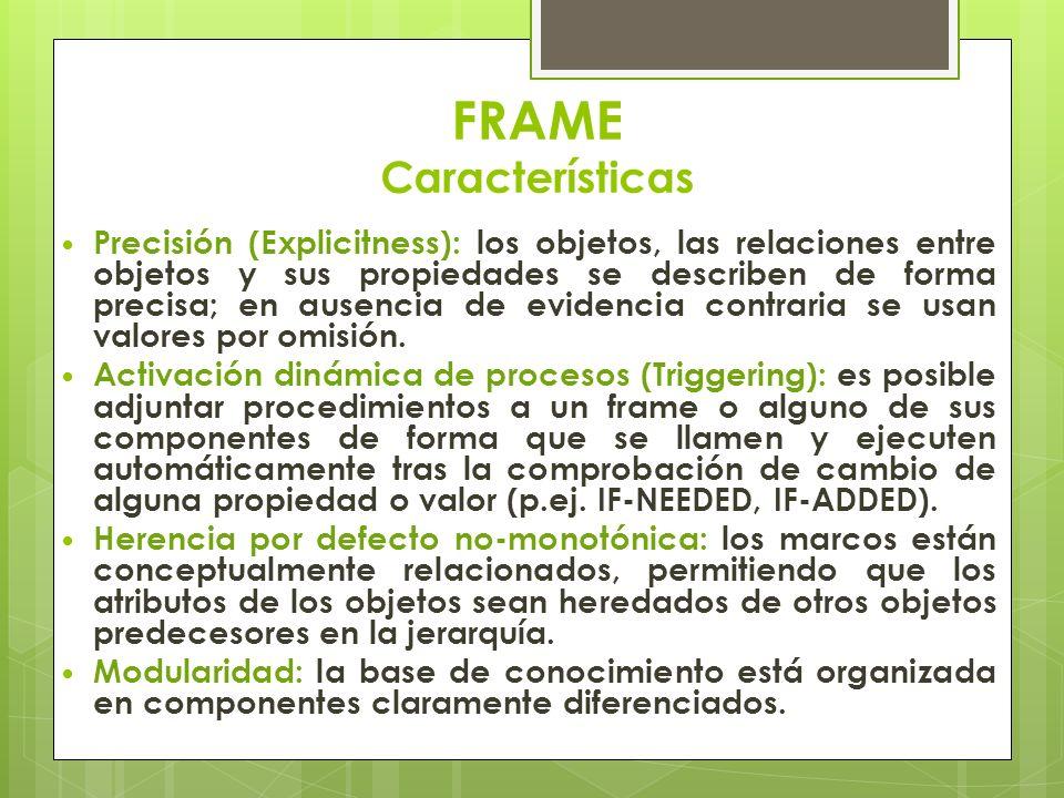 FRAME Características Precisión (Explicitness): los objetos, las relaciones entre objetos y sus propiedades se describen de forma precisa; en ausencia
