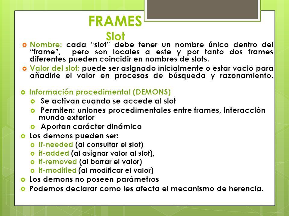 FRAMES Slot Nombre: cada slot debe tener un nombre único dentro del frame, pero son locales a este y por tanto dos frames diferentes pueden coincidir