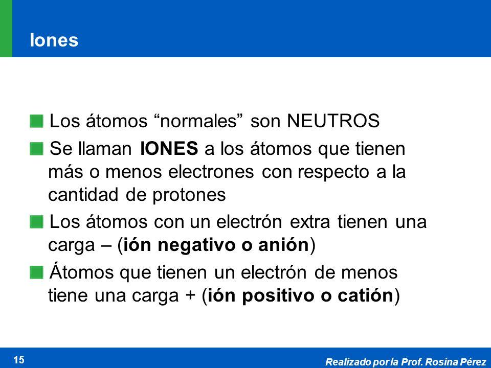 Realizado por la Prof. Rosina Pérez 15 Iones Los átomos normales son NEUTROS Se llaman IONES a los átomos que tienen más o menos electrones con respec