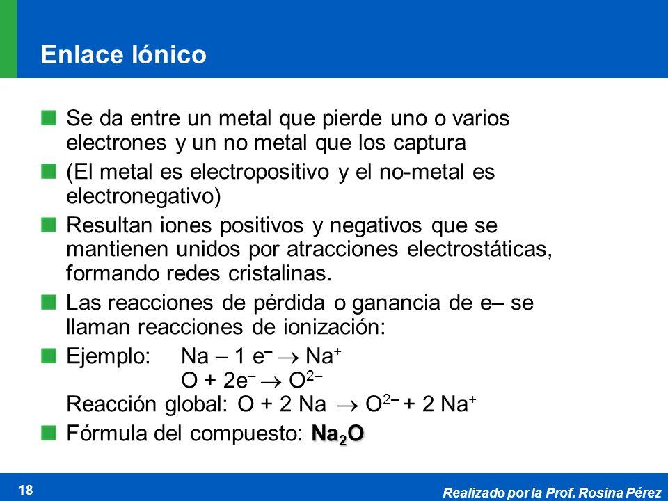Realizado por la Prof. Rosina Pérez 18 Enlace Iónico Se da entre un metal que pierde uno o varios electrones y un no metal que los captura (El metal e