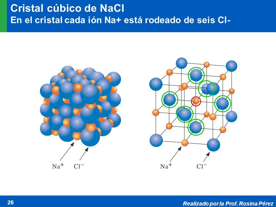 Realizado por la Prof. Rosina Pérez 26 Cristal cúbico de NaCl En el cristal cada ión Na+ está rodeado de seis Cl-