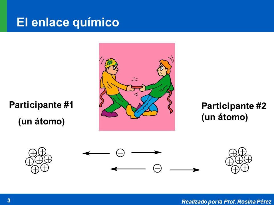 Realizado por la Prof. Rosina Pérez 3 El enlace químico Participante #1 (un átomo) Participante #2 (un átomo)