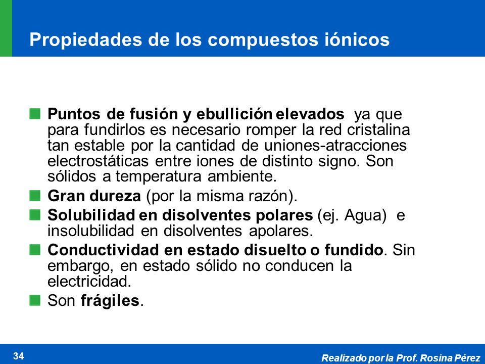Realizado por la Prof. Rosina Pérez 34 Propiedades de los compuestos iónicos Puntos de fusión y ebullición elevados ya que para fundirlos es necesario