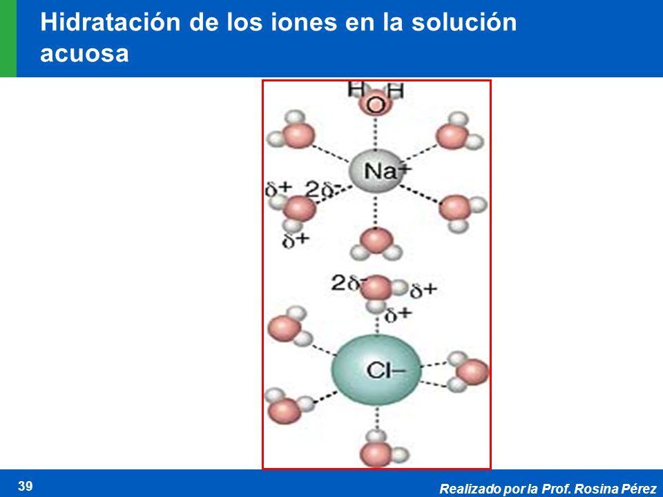 Realizado por la Prof. Rosina Pérez 39 Hidratación de los iones en la solución acuosa