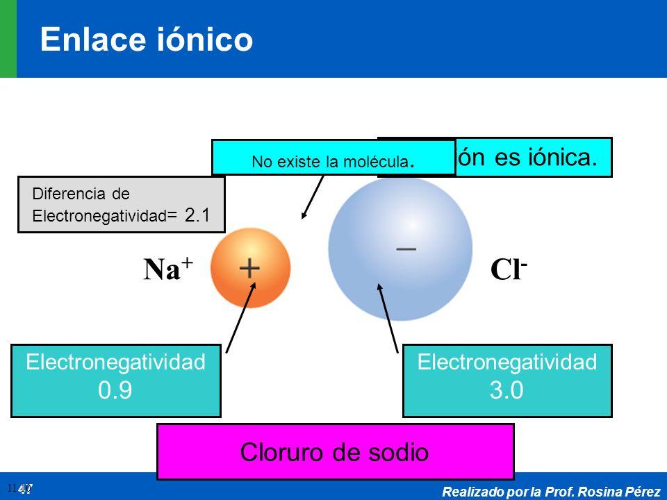 Realizado por la Prof. Rosina Pérez 47 Cloruro de sodio Na + Cl - Electronegatividad 0.9 Electronegatividad 3.0 La unión es iónica. No existe la moléc