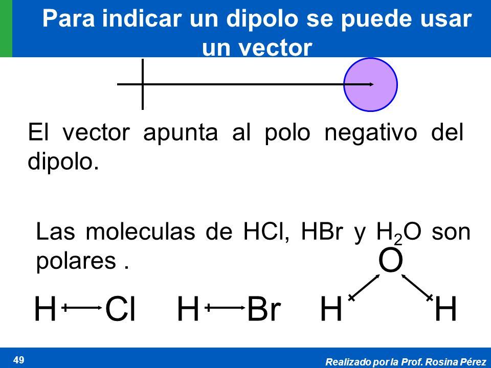 Realizado por la Prof. Rosina Pérez 49 Para indicar un dipolo se puede usar un vector El vector apunta al polo negativo del dipolo. HClHBrH O H Las mo