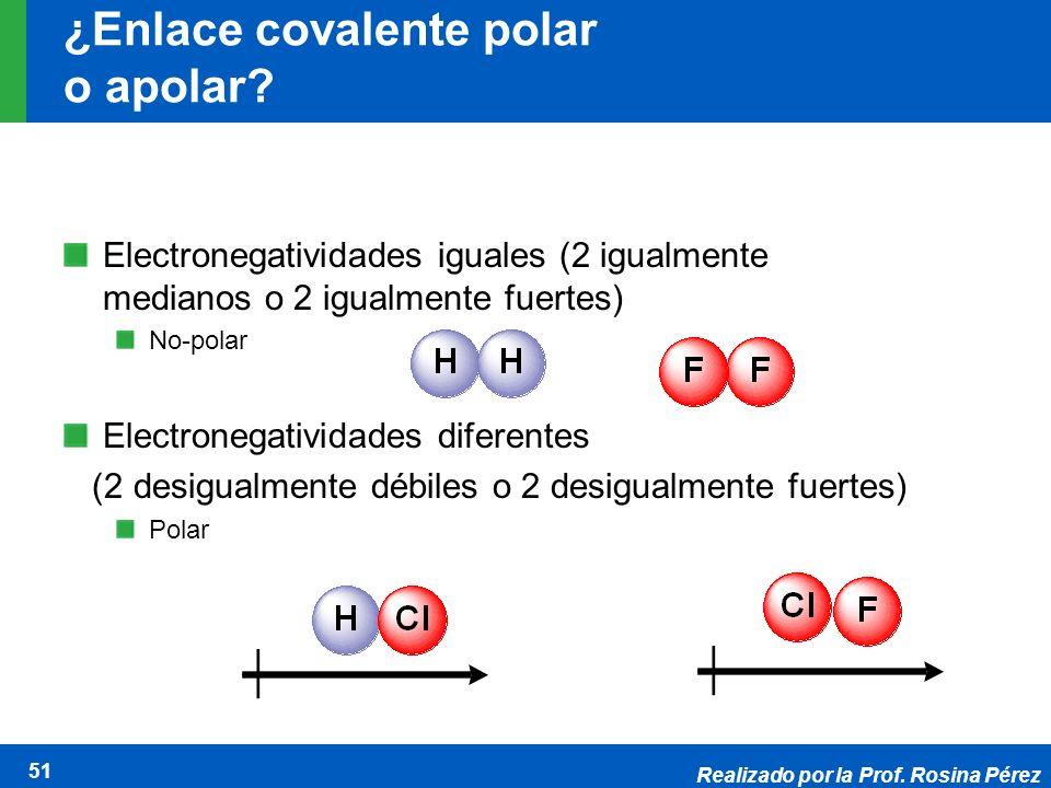 Realizado por la Prof. Rosina Pérez 51 ¿Enlace covalente polar o apolar? Electronegatividades iguales (2 igualmente medianos o 2 igualmente fuertes) N