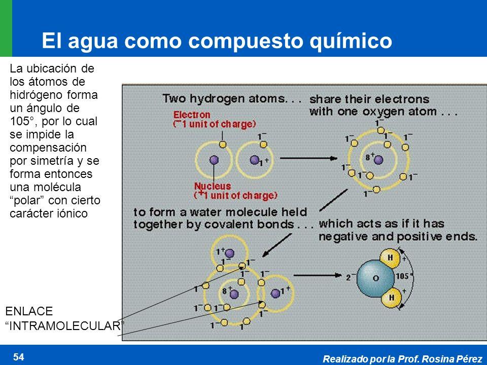 Realizado por la Prof. Rosina Pérez 54 El agua como compuesto químico La ubicación de los átomos de hidrógeno forma un ángulo de 105°, por lo cual se
