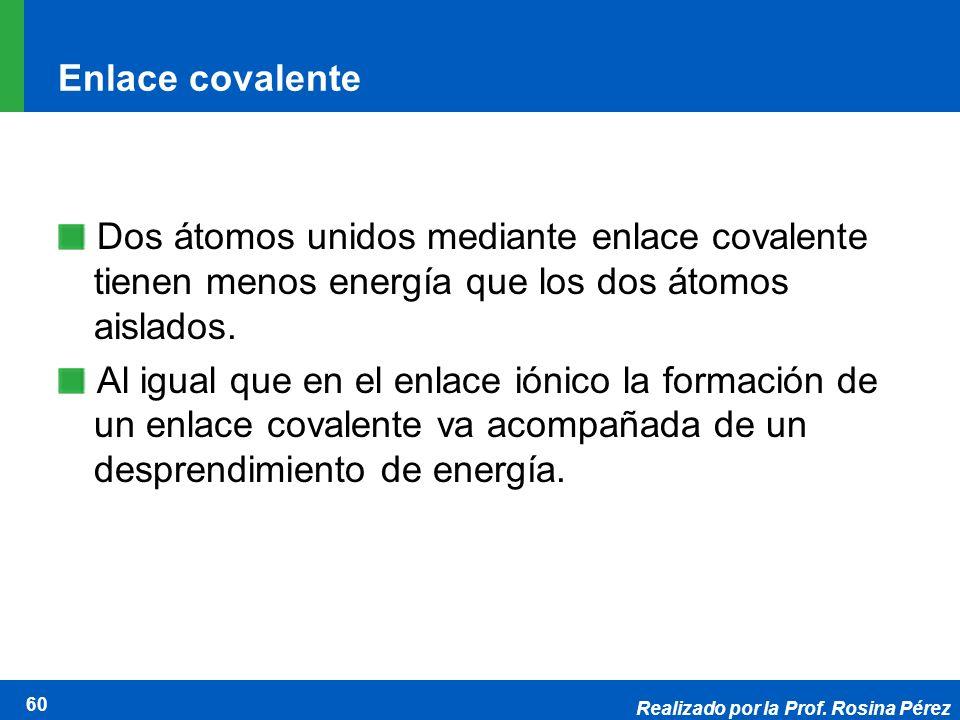 Realizado por la Prof. Rosina Pérez 60 Enlace covalente Dos átomos unidos mediante enlace covalente tienen menos energía que los dos átomos aislados.