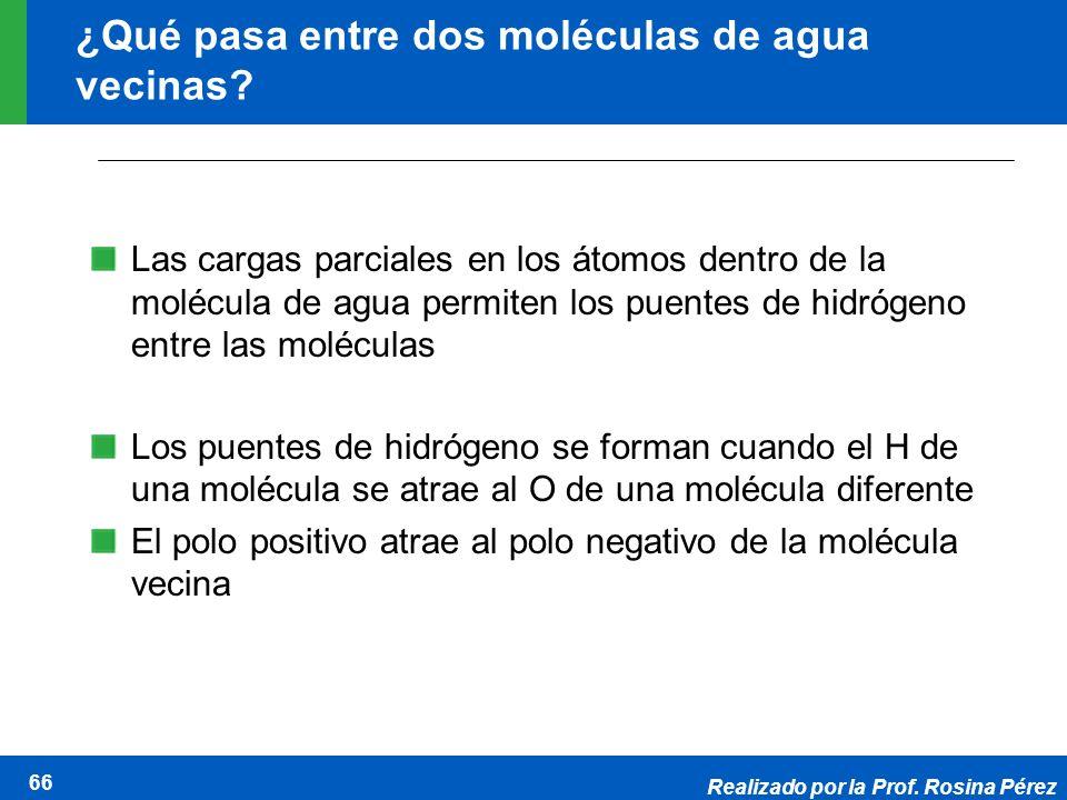 Realizado por la Prof. Rosina Pérez 66 ¿Qué pasa entre dos moléculas de agua vecinas? Las cargas parciales en los átomos dentro de la molécula de agua