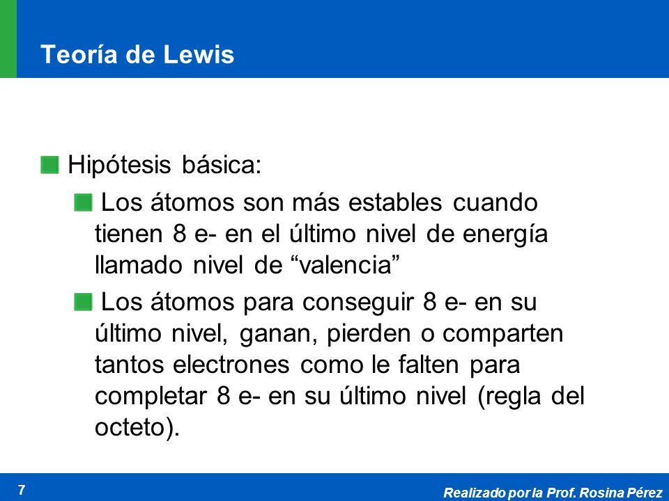 Realizado por la Prof. Rosina Pérez 7 Teoría de Lewis Hipótesis básica: Los átomos son más estables cuando tienen 8 e- en el último nivel de energía l