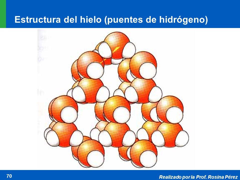 Realizado por la Prof. Rosina Pérez 70 Estructura del hielo (puentes de hidrógeno)