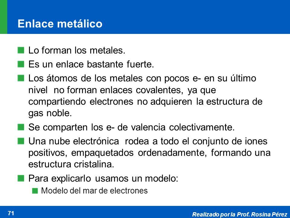 Realizado por la Prof. Rosina Pérez 71 Enlace metálico Lo forman los metales. Es un enlace bastante fuerte. Los átomos de los metales con pocos e- en