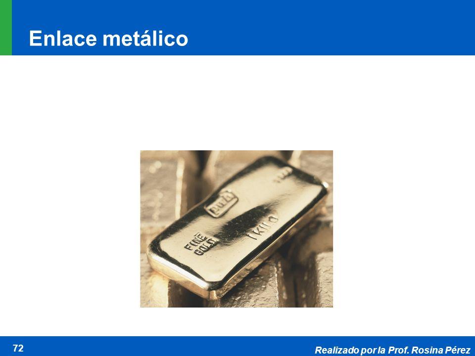 Realizado por la Prof. Rosina Pérez 72 Enlace metálico Elements are substances that cannot be broken down to simpler substances by chemical reactions.