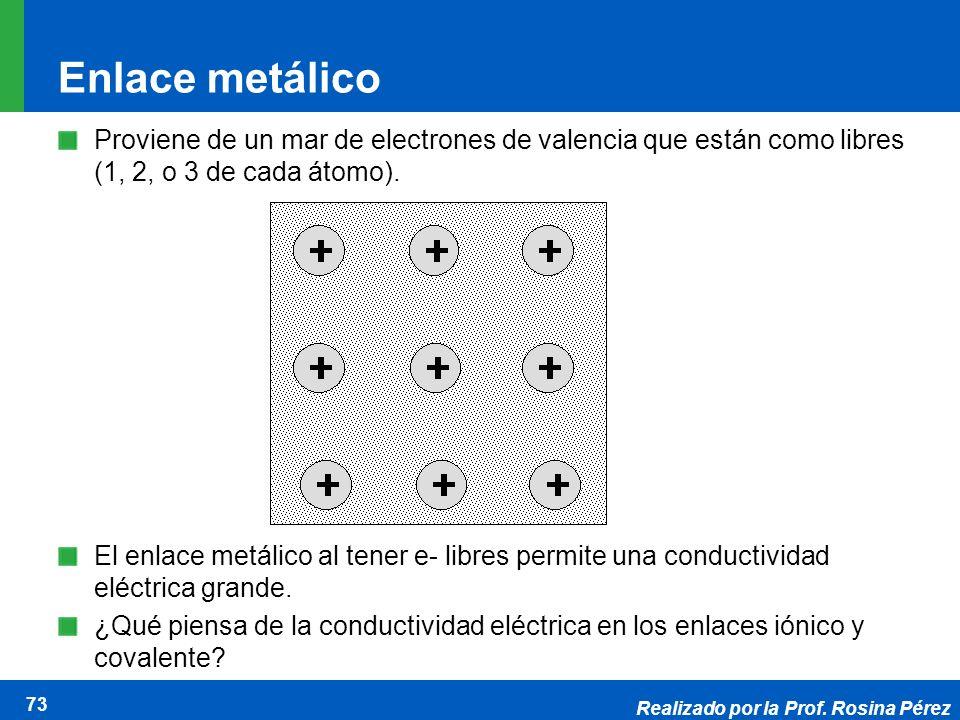 Realizado por la Prof. Rosina Pérez 73 Enlace metálico Proviene de un mar de electrones de valencia que están como libres (1, 2, o 3 de cada átomo). E