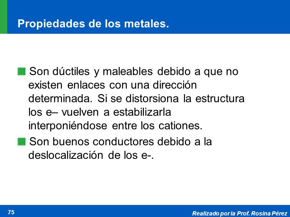 Realizado por la Prof. Rosina Pérez 75 Propiedades de los metales. Son dúctiles y maleables debido a que no existen enlaces con una dirección determin