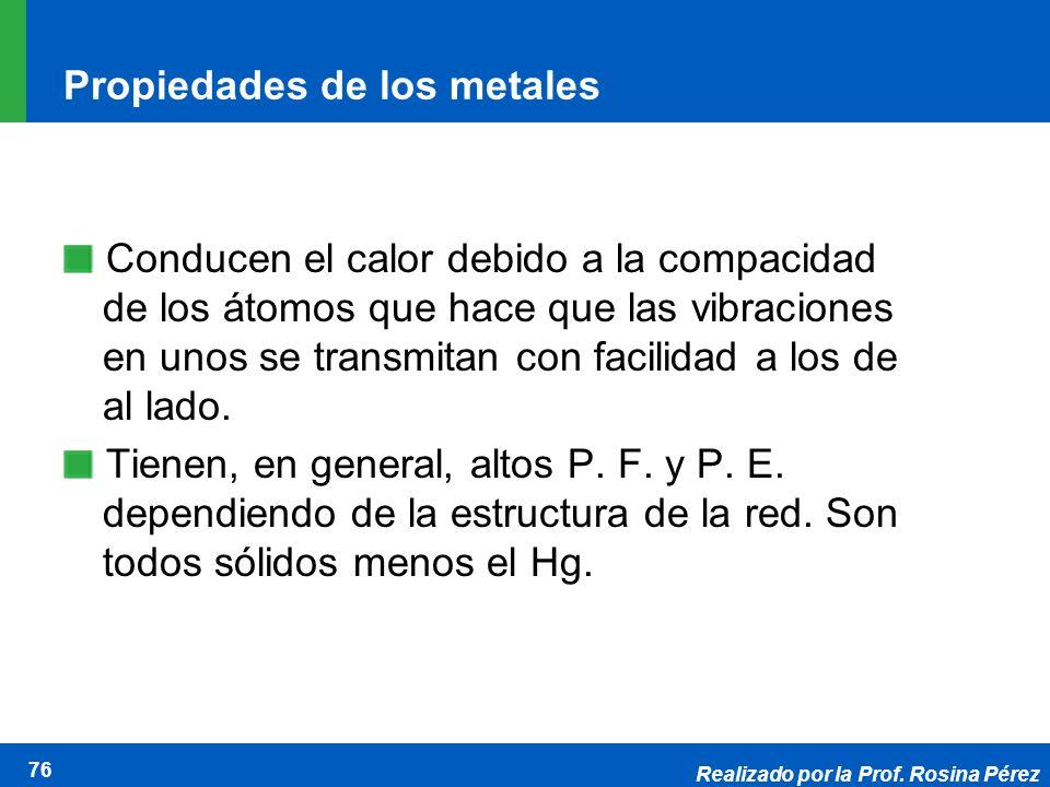 Realizado por la Prof. Rosina Pérez 76 Propiedades de los metales Conducen el calor debido a la compacidad de los átomos que hace que las vibraciones