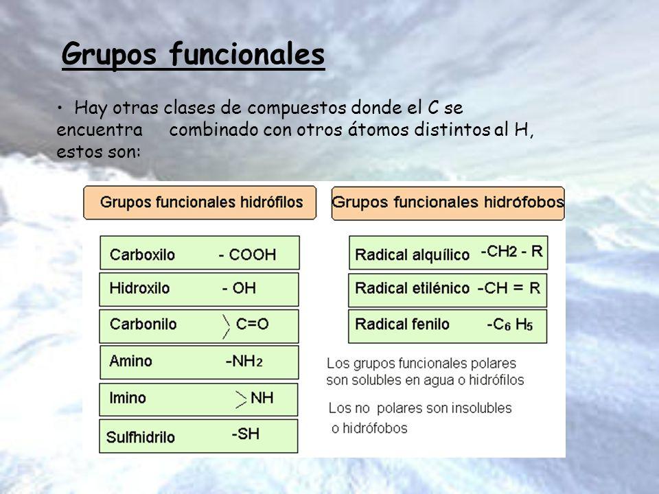 Grupos funcionales Hay otras clases de compuestos donde el C se encuentra combinado con otros átomos distintos al H, estos son: