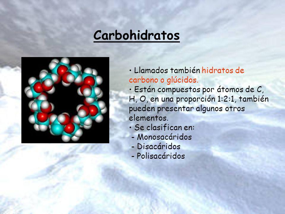 Carbohidratos Llamados también hidratos de carbono o glúcidos. Están compuestos por átomos de C, H, O, en una proporción 1:2:1, también pueden present