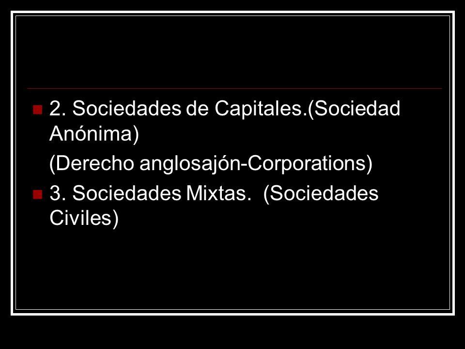 2. Sociedades de Capitales.(Sociedad Anónima) (Derecho anglosajón-Corporations) 3. Sociedades Mixtas. (Sociedades Civiles)