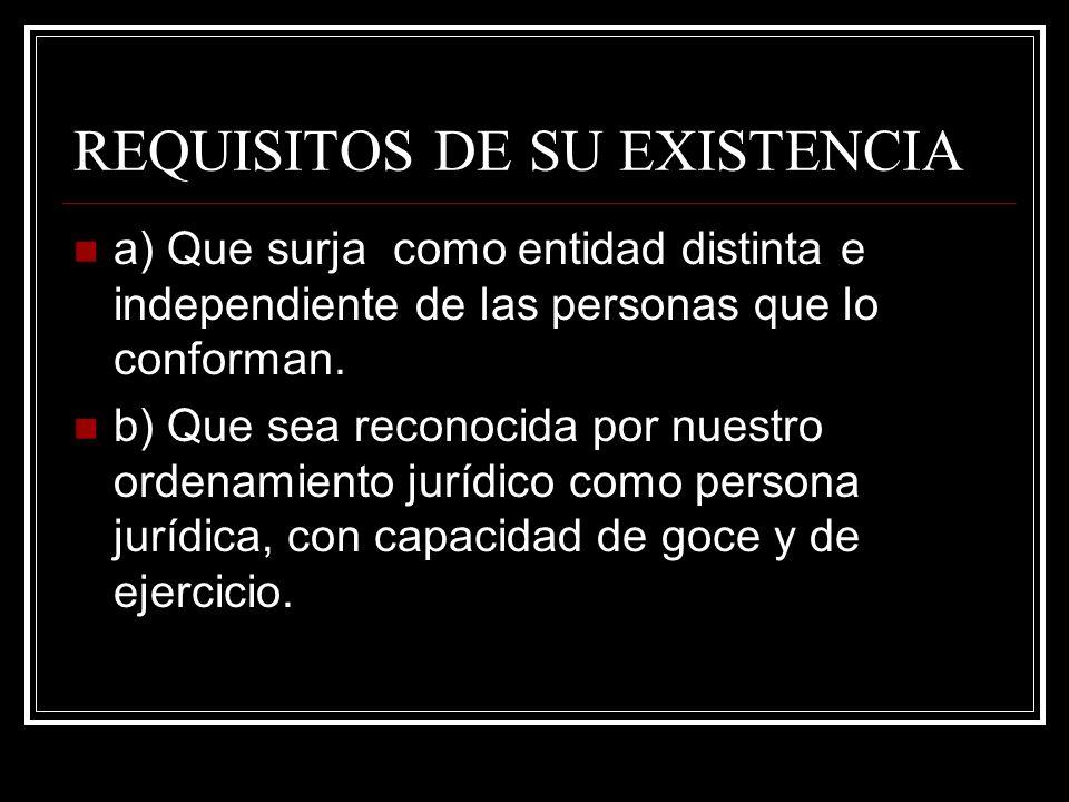 REQUISITOS DE SU EXISTENCIA a) Que surja como entidad distinta e independiente de las personas que lo conforman. b) Que sea reconocida por nuestro ord