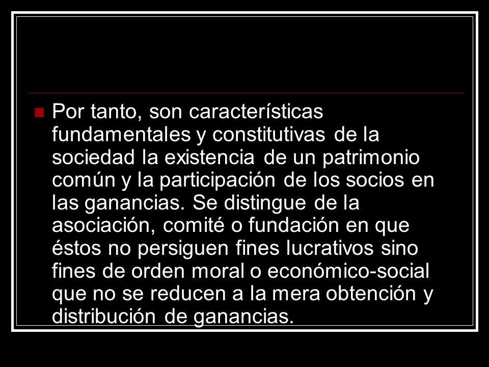Por tanto, son características fundamentales y constitutivas de la sociedad la existencia de un patrimonio común y la participación de los socios en l