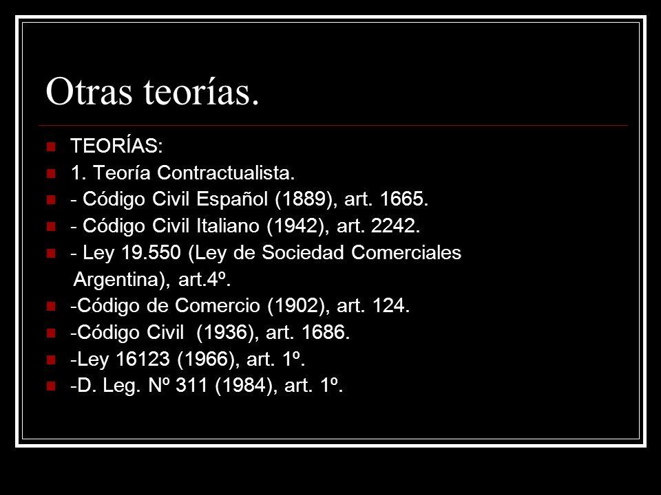 Otras teorías. TEORÍAS: 1. Teoría Contractualista. - Código Civil Español (1889), art. 1665. - Código Civil Italiano (1942), art. 2242. - Ley 19.550 (