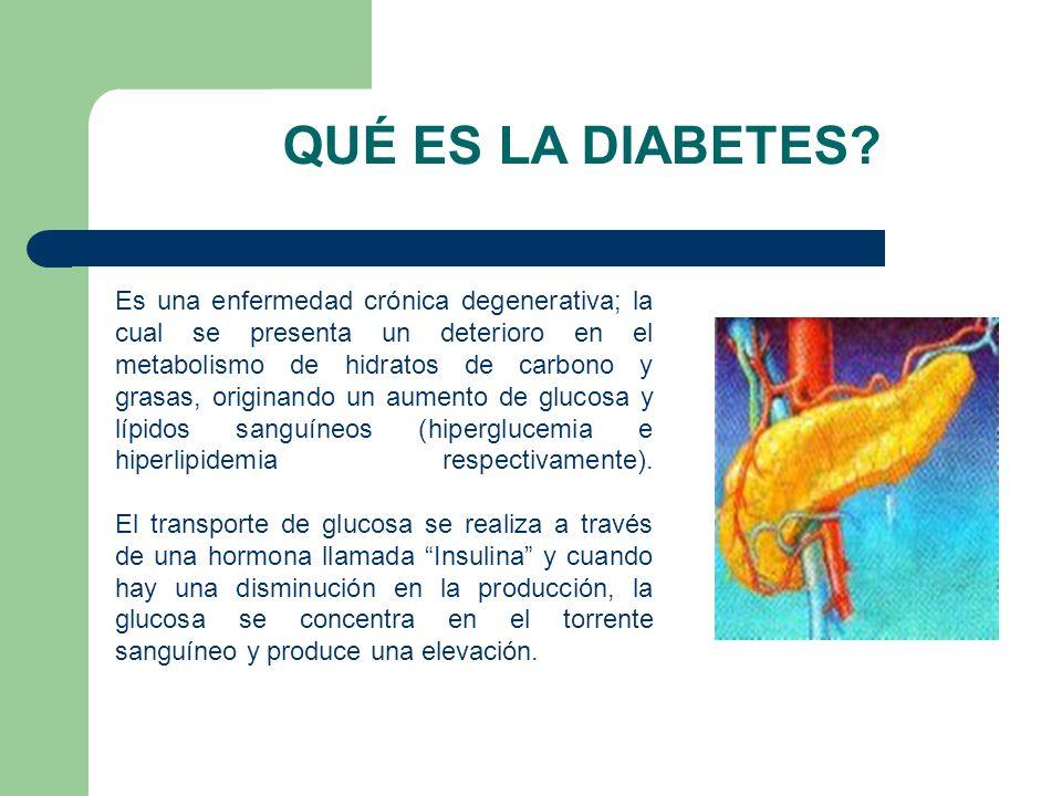 Es una enfermedad crónica degenerativa; la cual se presenta un deterioro en el metabolismo de hidratos de carbono y grasas, originando un aumento de g