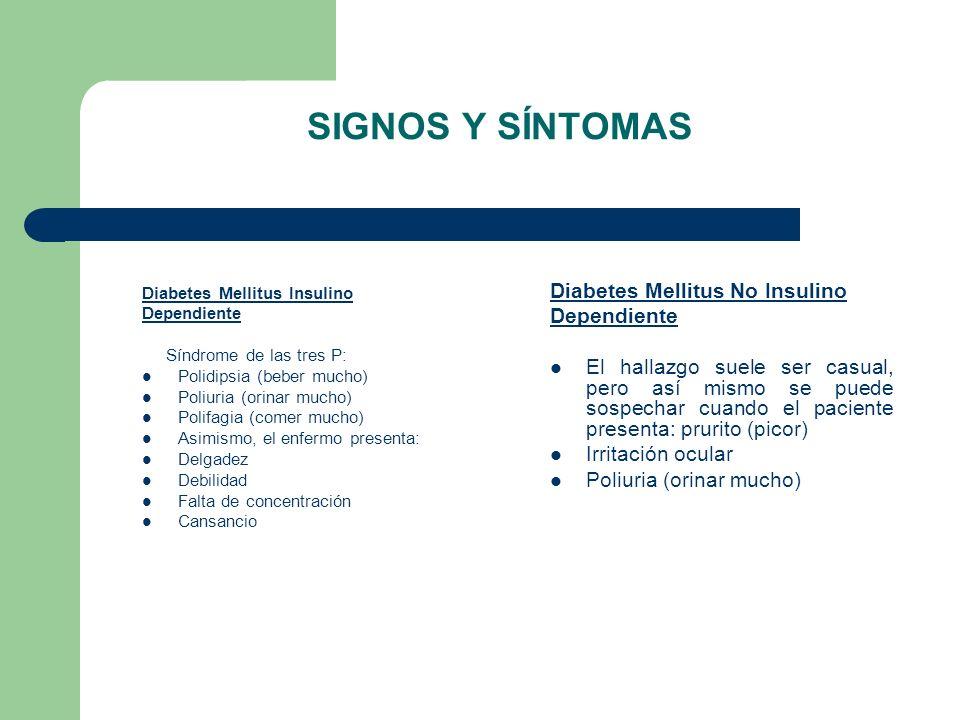 SIGNOS Y SÍNTOMAS Diabetes Mellitus Insulino Dependiente Síndrome de las tres P: Polidipsia (beber mucho) Poliuria (orinar mucho) Polifagia (comer muc