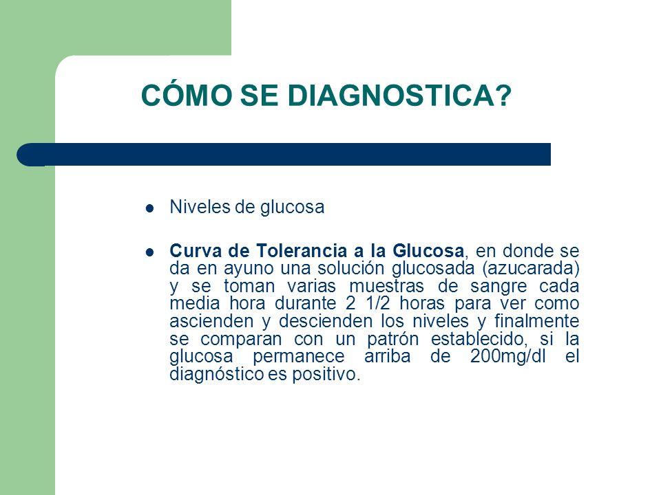 CÓMO SE DIAGNOSTICA? Niveles de glucosa Curva de Tolerancia a la Glucosa, en donde se da en ayuno una solución glucosada (azucarada) y se toman varias