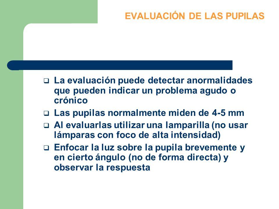 EVALUACIÓN DE LAS PUPILAS La evaluación puede detectar anormalidades que pueden indicar un problema agudo o crónico Las pupilas normalmente miden de 4