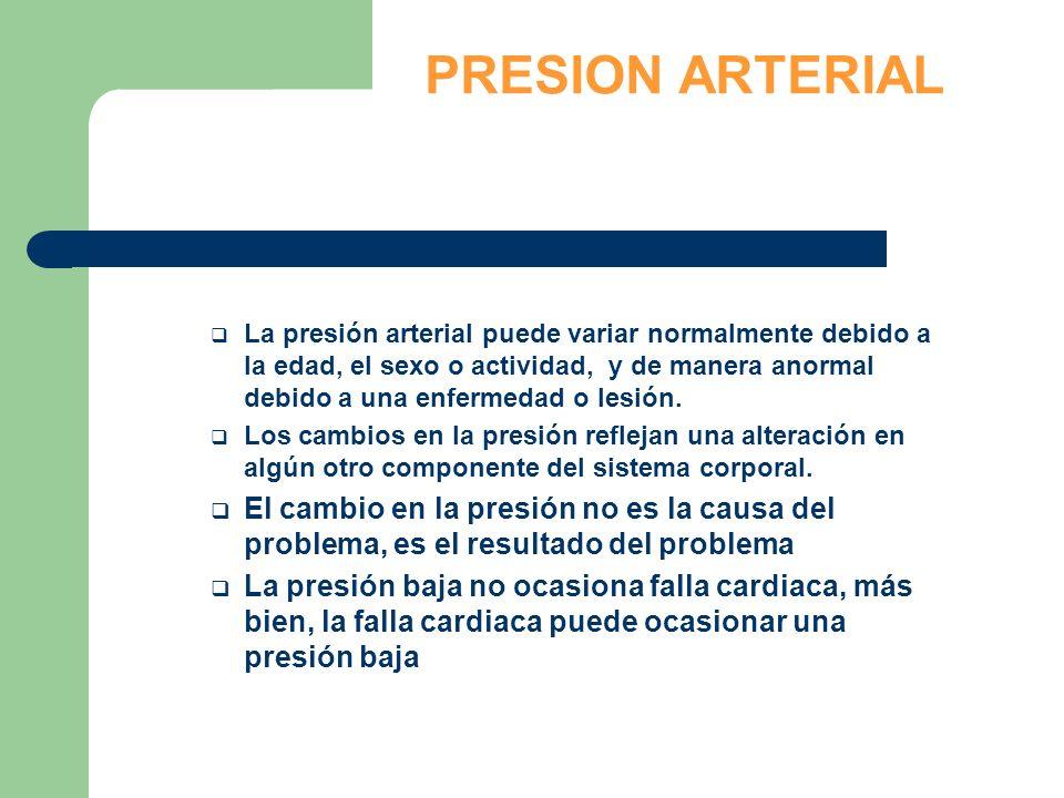 PRESION ARTERIAL La presión arterial puede variar normalmente debido a la edad, el sexo o actividad, y de manera anormal debido a una enfermedad o les