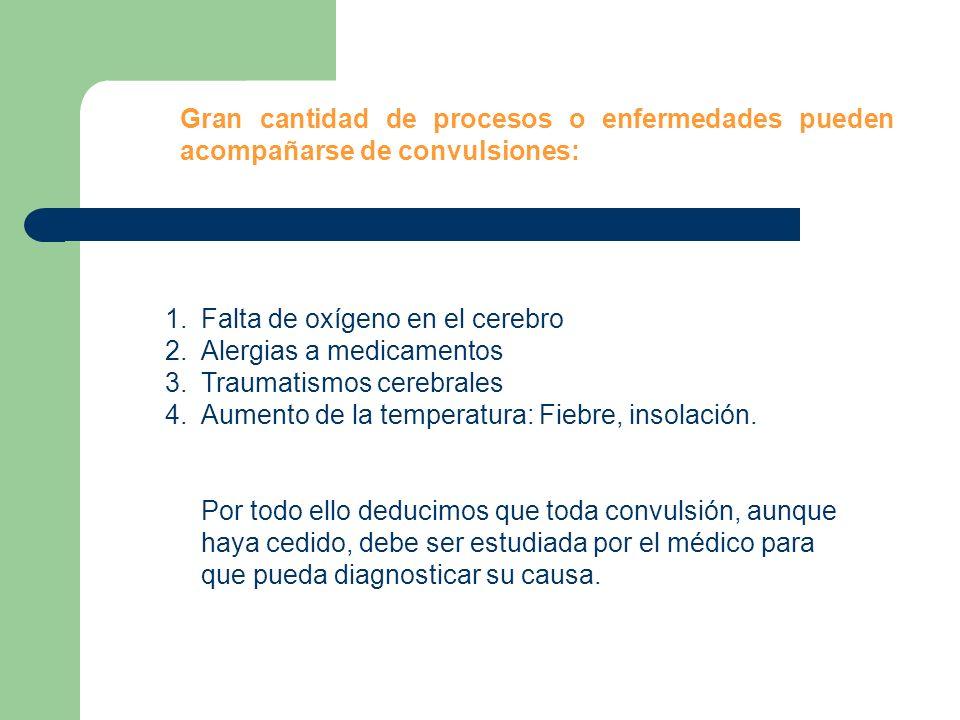 1.Falta de oxígeno en el cerebro 2.Alergias a medicamentos 3.Traumatismos cerebrales 4.Aumento de la temperatura: Fiebre, insolación. Por todo ello de