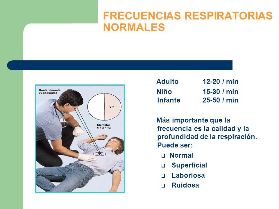 FRECUENCIAS RESPIRATORIAS NORMALES Adulto12-20 / min Niño15-30 / min Infante25-50 / min Más importante que la frecuencia es la calidad y la profundida