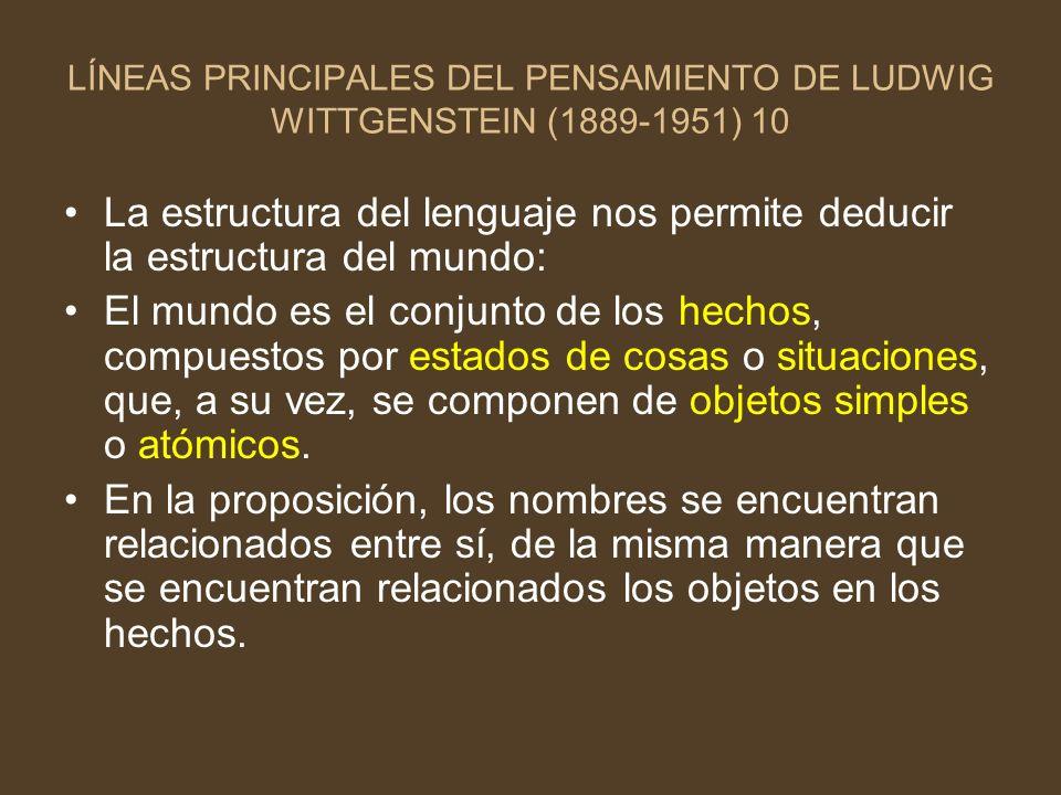 LÍNEAS PRINCIPALES DEL PENSAMIENTO DE LUDWIG WITTGENSTEIN (1889-1951) 10 La estructura del lenguaje nos permite deducir la estructura del mundo: El mu