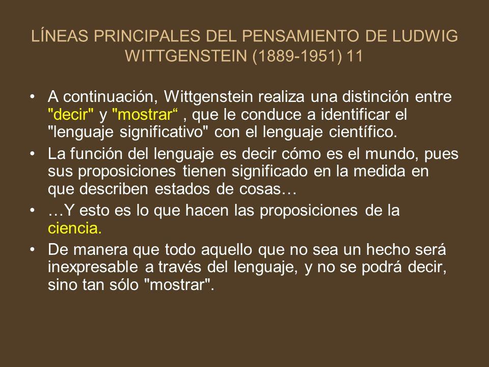 LÍNEAS PRINCIPALES DEL PENSAMIENTO DE LUDWIG WITTGENSTEIN (1889-1951) 11 A continuación, Wittgenstein realiza una distinción entre