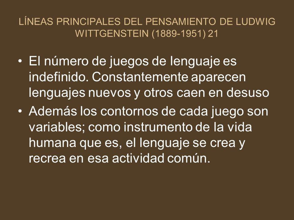 LÍNEAS PRINCIPALES DEL PENSAMIENTO DE LUDWIG WITTGENSTEIN (1889-1951) 21 El número de juegos de lenguaje es indefinido. Constantemente aparecen lengua