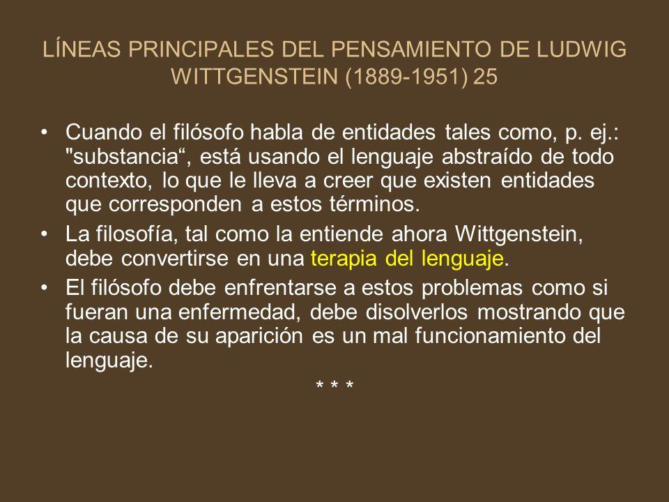 LÍNEAS PRINCIPALES DEL PENSAMIENTO DE LUDWIG WITTGENSTEIN (1889-1951) 25 Cuando el filósofo habla de entidades tales como, p. ej.: